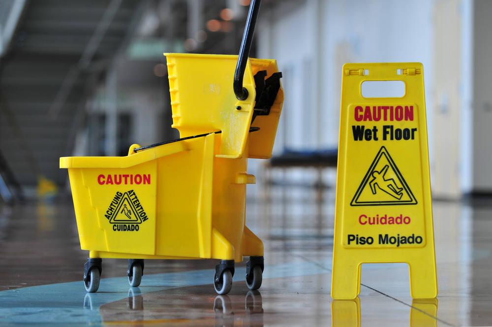 Yellow Mop Bucket & Wet Floor Sign